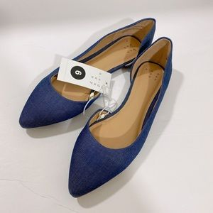 NWT A New Day Pointed Toe Denim Blue Flats sz 6